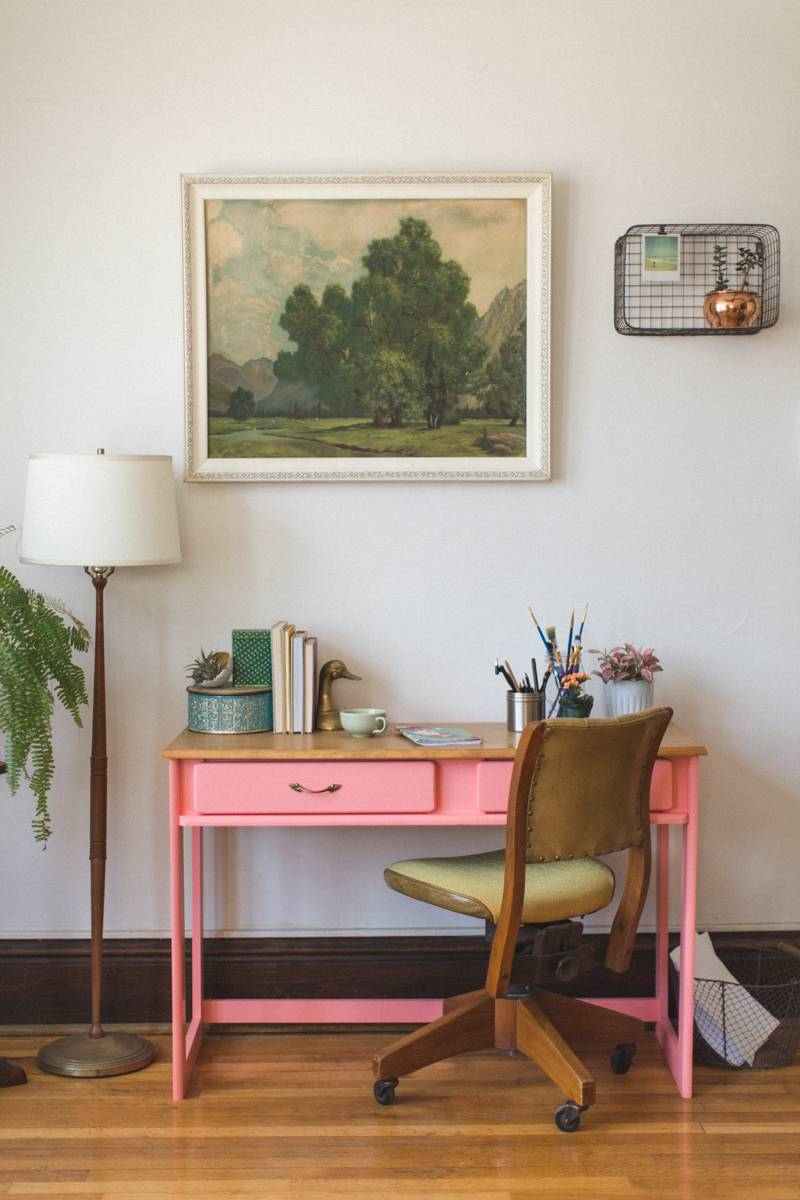 coral pink desk and vintage office space